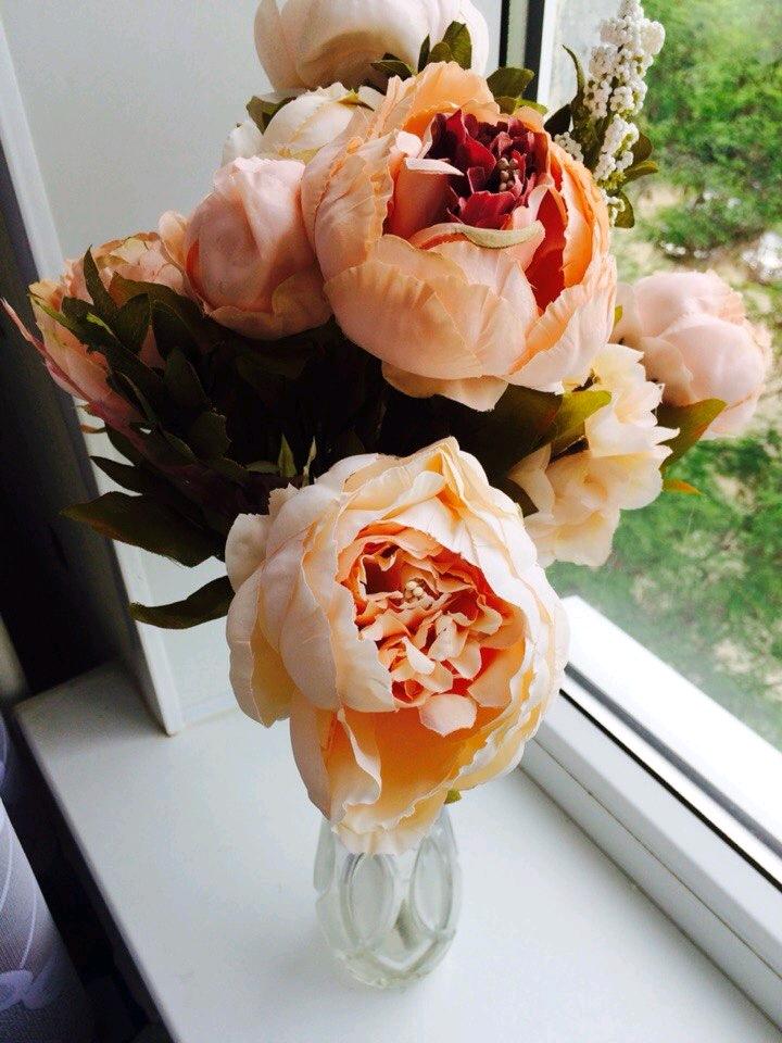 8 Haeds1 Bouquet Peony Artificial Silk Flower Home Party Wedding Garden Decoration